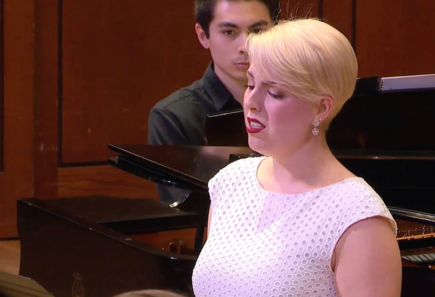 Page singing in Steven Serpa's piece