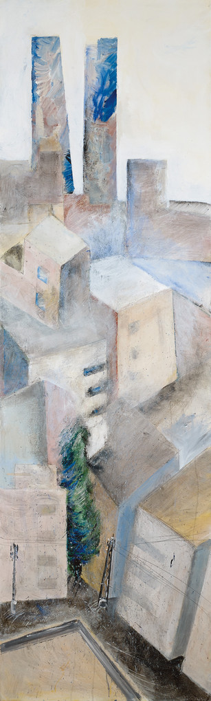 Tel Aviv with 2 towers, 2020, acryic on canvas, 200x100 - private collection
