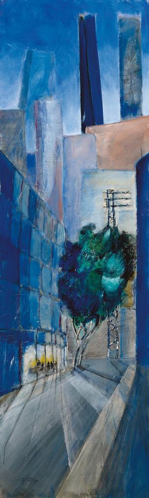 Tel Aviv Carlibach St, 2020, acrylic on canvas, 200x60