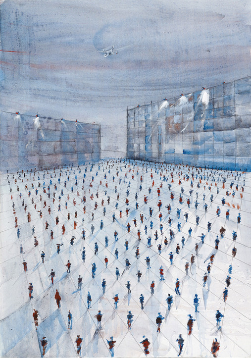 Demonstration 1 at Corona time, Rabin Sq, 2020, acrylic on canvas, 100x80