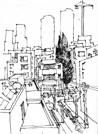 Tel Aviv, Ahad Haam Street, 2020, ink on paper, 30X22