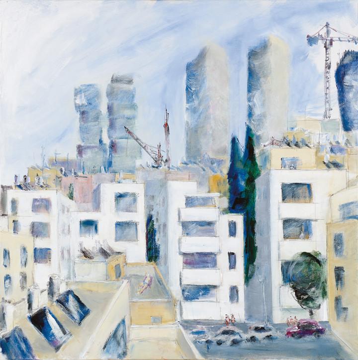 Ahad Haam St, Tel Aviv, 2020, acrylic on canvas, 100x100 - private collection