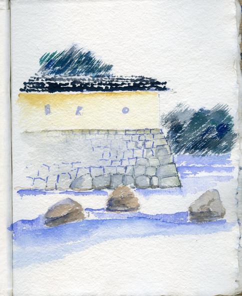 Himeji Castel, Japan, 2005, water color on paper, 30X20.jpg