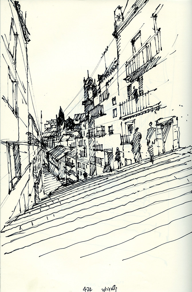 Caltajirone street, 2002, ink on paper, 30X21