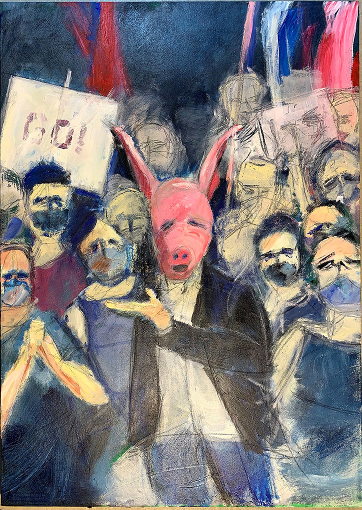 this is no Purim, 2021, acrylic on canvas, 70X 50