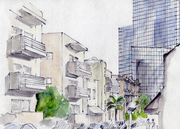 Tel aviv street with International Bank, 2018, crayon andwater color on paper, 25X20