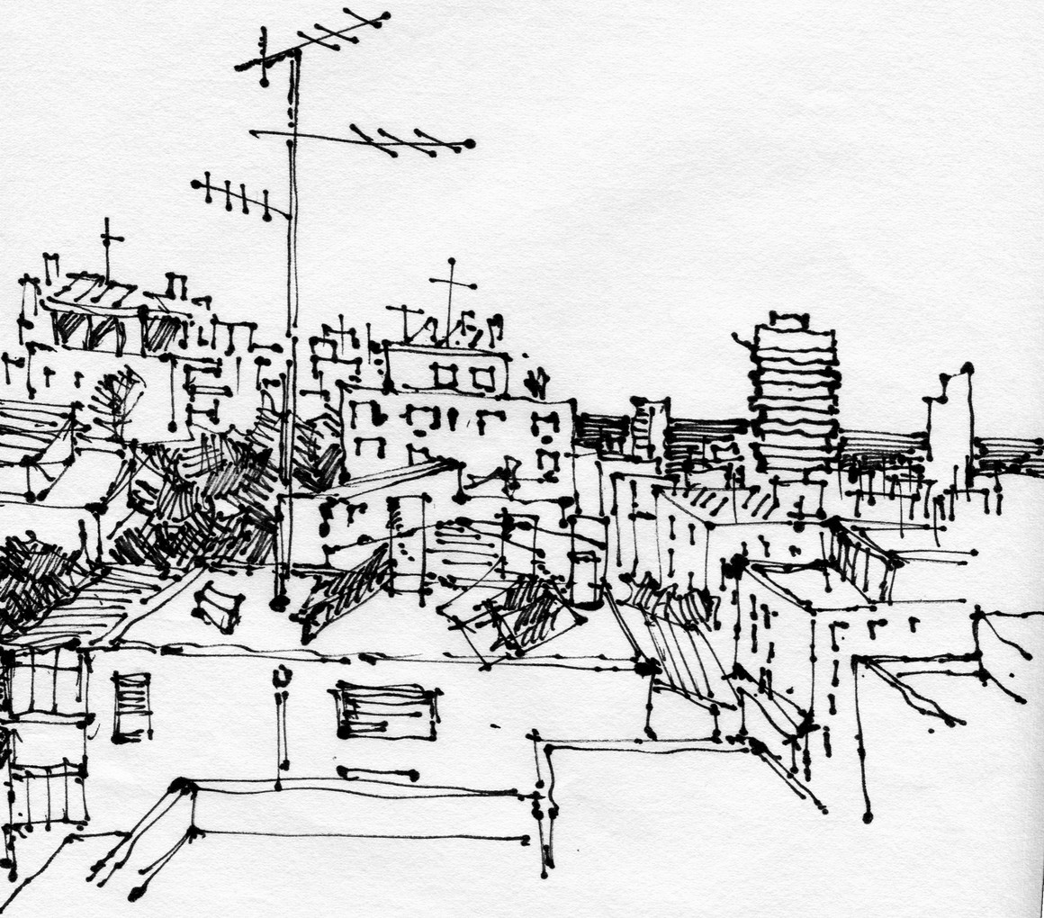 Tel Aviv roofs 103, 2020, ink on paper, 32X24