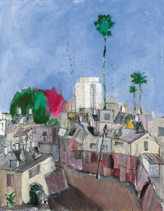 Kfar Shalem, 2021, acrylic on canvas, 100X70