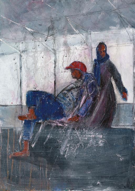 Neve Sha'anan couple, 2021, acrylic on canvas, 70X50