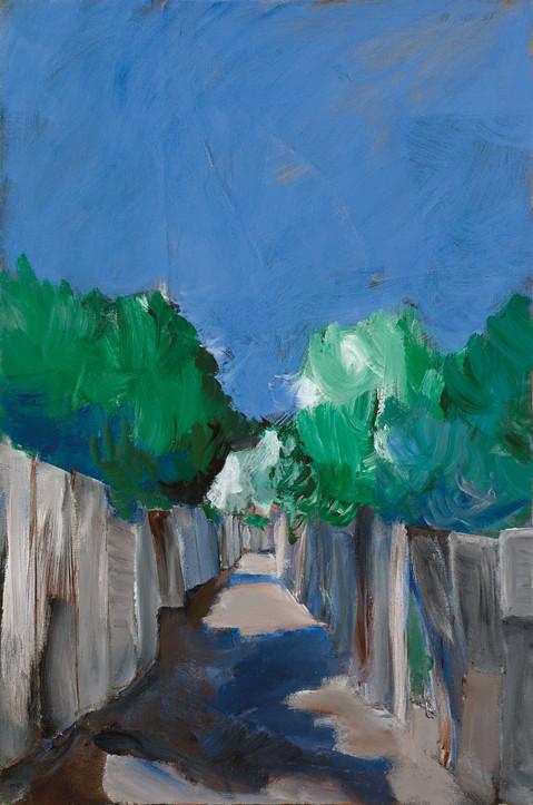 Ha'Argazim Alley, 2021, acrylic on canvas, 100X70