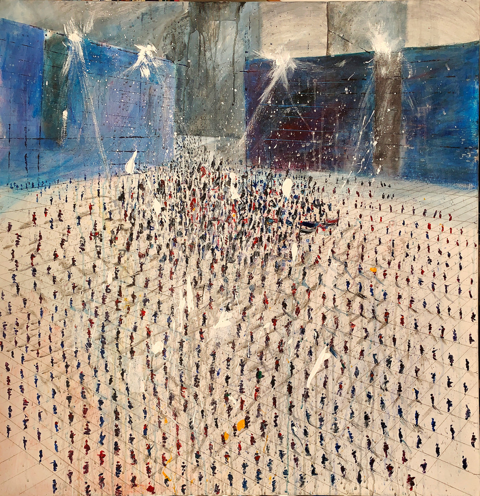 October Demonstration, 2020, acryilic on canvas, 100X100.jpg