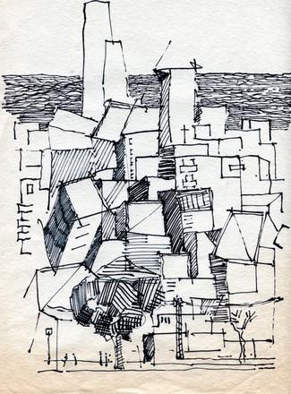 Tel Aviv Roofs 101, 2020, ink on paper, 32X24
