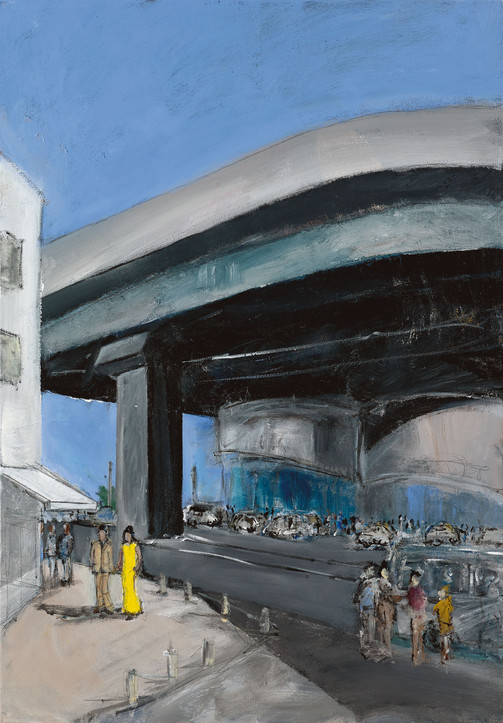 Central Bus Station, 2021, acrylic on canvas, 100X70
