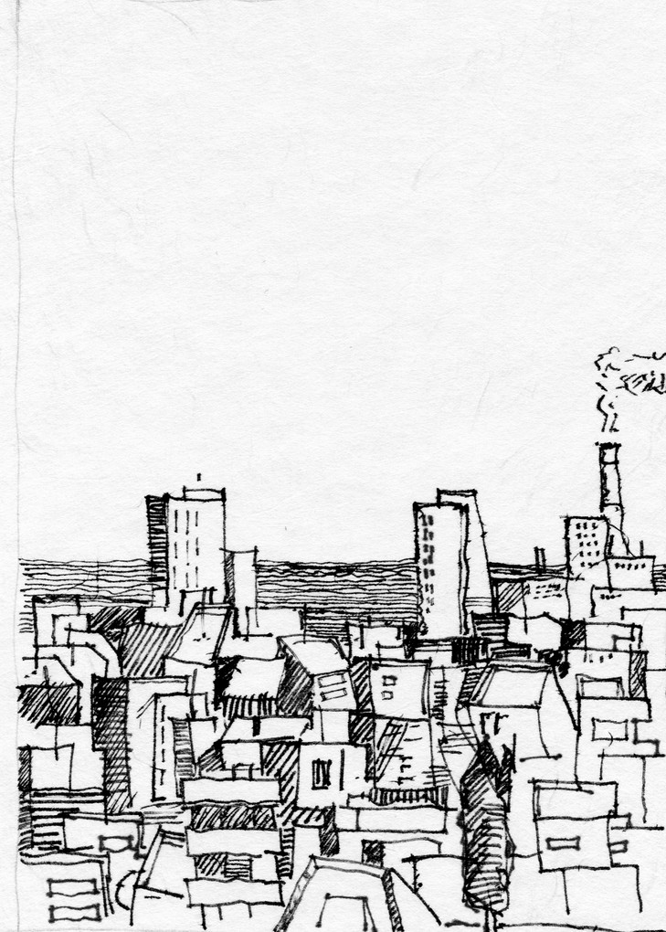 Tel Aviv roofs 104, 2020, ink on paper, 32X24
