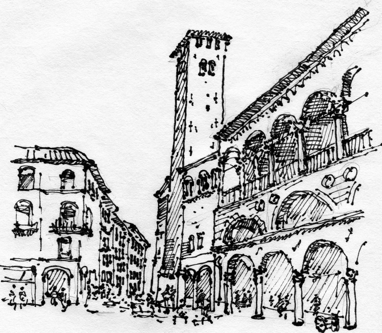 Padova market place, 2015, ink on paper, 30X21