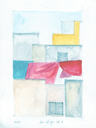 Tel aviv roofs study, 2018, water color on paper, 25X20