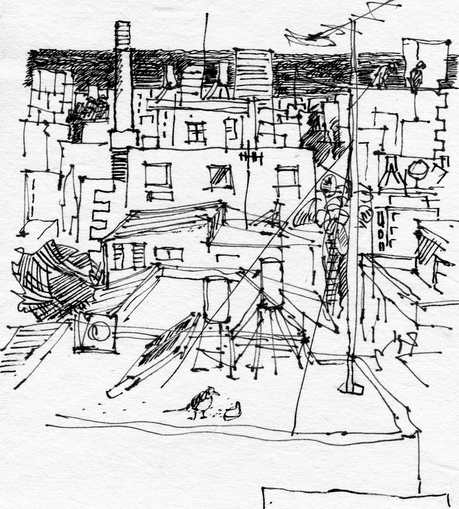 Tel Aviv Roofs 102, 2020, ink on paper, 32X24