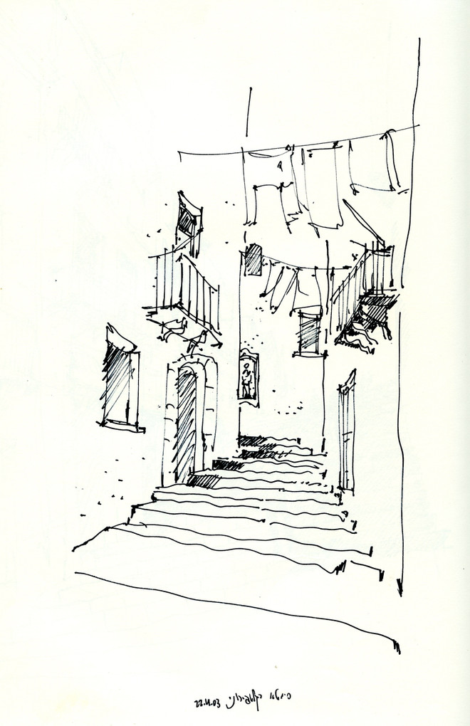 Caltajirone street 2, 2002, ink on paper, 30X21