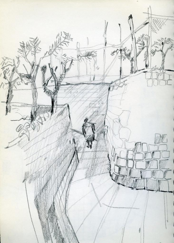 Massa Lubrnse alley 2, 2003,crayon on paper, 30X21