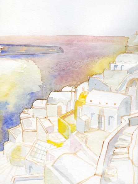 Santorini 1, 2001, water coloron paper, 30X20