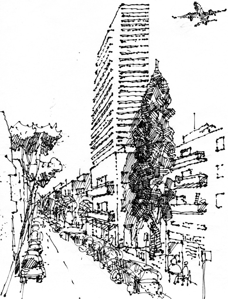 Tel Aviv, Lilenblum Street, 2020, ink on paper, 32X24