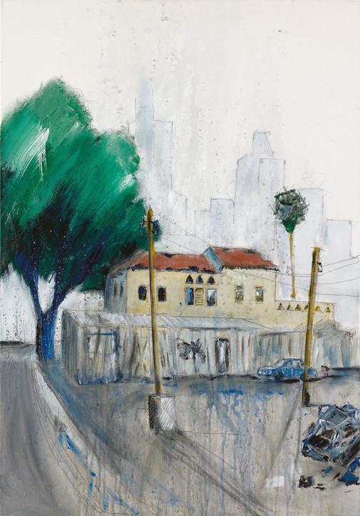 Neve Sha'anan Roc House, 2021, acrylic on canvas, 100X70
