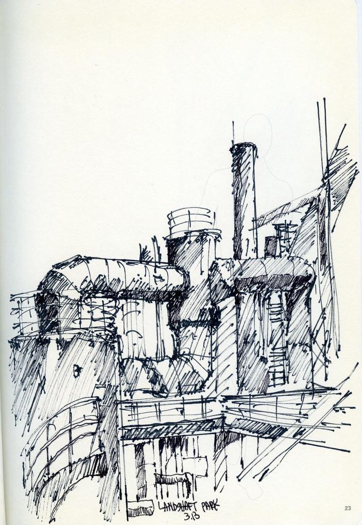 Zollverein, 2014, ink on paper, 30X20