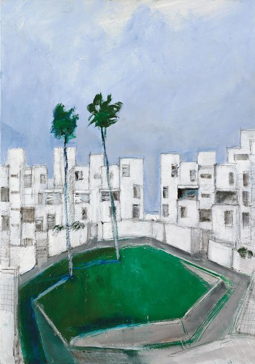 Kfir Neibourhood, 2021, acrylic on canvas, 100X70