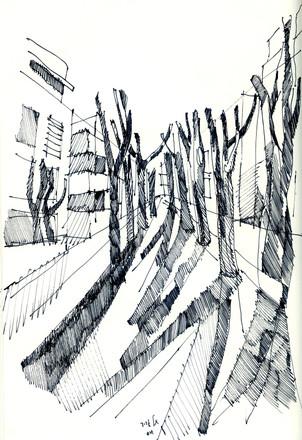 Tel Aviv, Rothchilde Blvd., 2020, ink on paper, 32X24