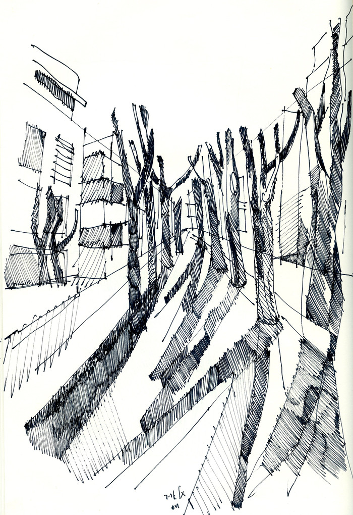 Tel Aviv, Rothchilde Blvd., 2020, ink on paper, 32X24