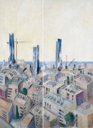 Tel Aviv with 3 towers, 2020, acrylic on canvas, diptych, 200x120