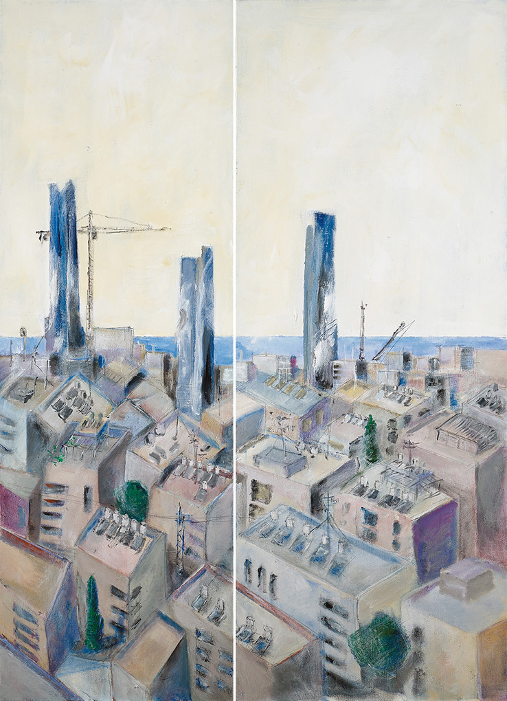 Tel Aviv with 3 towers, 2020, acrylic on canvas, diptych, 200x120