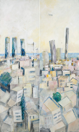 Tel Aviv with 5 towers, 2020, acrylic on canvas, diptych 200x120