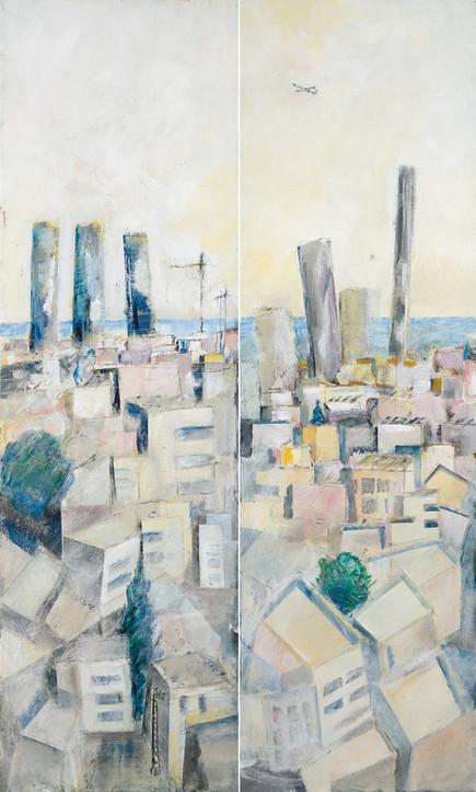 Tel Aviv with 5 towers, 2020, acrylic on canvas, diptych 200x120
