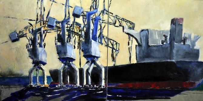 Dagon Wharf, Haifa port, Dipptych, 2012, acrylic on canvas, 100X100 each
