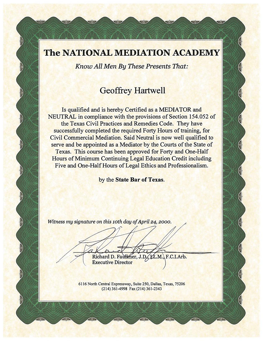 NMA Certificate for Arbitrator, Engineer, Adjudicator, Geoffrey Beresford Hartwell