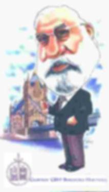 Geoffrey's caricature for Arbitrator, Engineer, Adjudicator, Geoffrey Beresford Hartwell