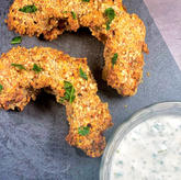 Crispy Squash Rings with Herb Dip and Salad