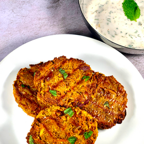 Indian Curry Fritters With Mint Yogurt