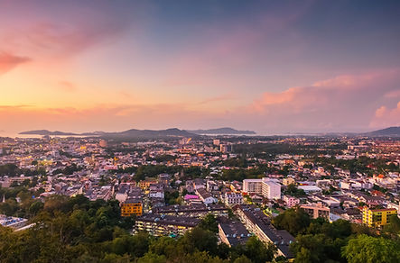 Sunrise of phuket town at khao rang hill