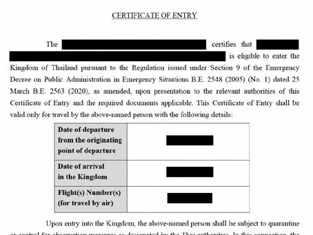 Thailand Visum und Einreiseerlaubnis (CoE(Certificate of Entry))