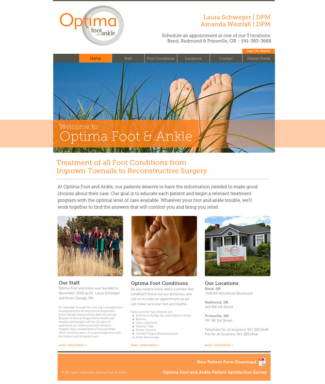 NEW website design for Optima Foot and Ankle