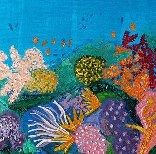 Coral reef .Oil on canvas