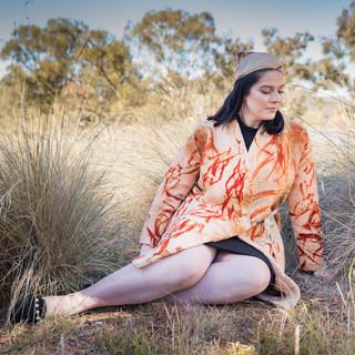 Wool Blanket Coat, Printed with Eudalyptus Manifera