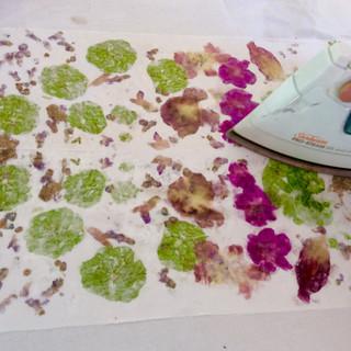 Hapa Zome petals and leaves