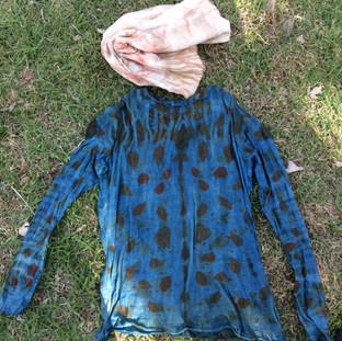Indigo Overdyed Eucalypt Print Shirt