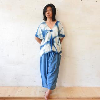 Indigo Shibori Top and Pants