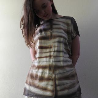 Merino Tshirt Shibori Printed with Walnut and Eucalyptus