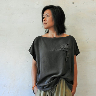 Black Petal Silk Top, Eucalypt Dye