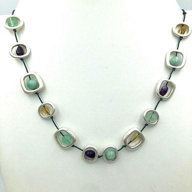 Short Silver Geometric Necklace